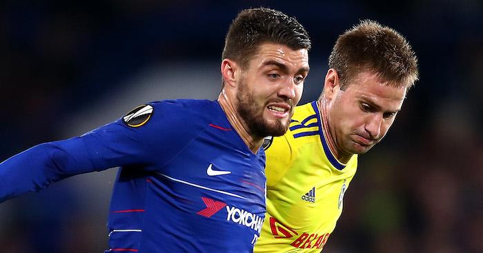 Während des Spiels der UEFA Europa League-Gruppe L zwischen Chelsea und FC BATE Borisov in Stamford Bridge am 25. Oktober 2018 in London (Vereinigtes Königreich).