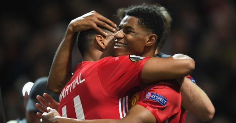 during the UEFA Europa League quarter final second leg match between Manchester United and RSC Anderlecht at Old Trafford on April 20, 2017 in Manchester, United Kingdom.