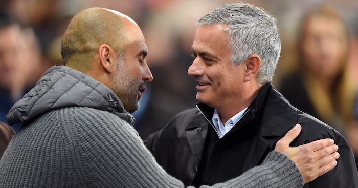 during the Premier League match between Manchester City and Manchester United at Etihad Stadium on November 11, 2018 in Manchester, United Kingdom.