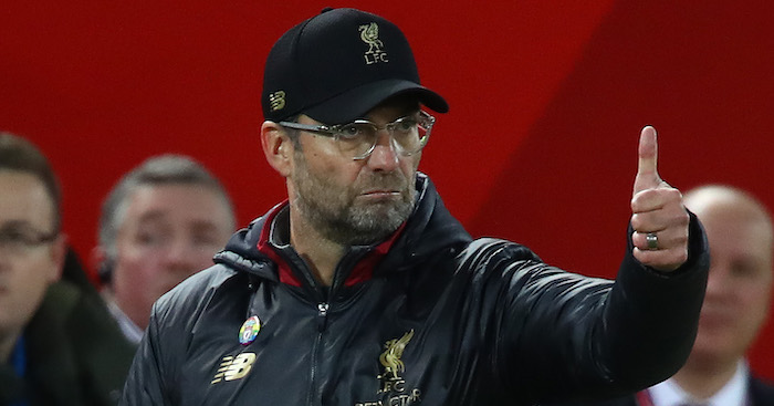 LIVERPOOL, ENGLAND - DECEMBER 02: Jurgen Klopp, Manager of Liverpool gives the thumbs up to his players during the Premier League match between Liverpool FC and Everton FC at Anfield on December 02, 2018 in Liverpool, United Kingdom. (Photo by Clive Brunskill/Getty Images)