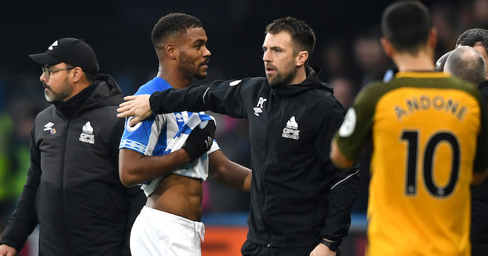 during the Premier League match between Huddersfield Town and Brighton & Hove Albion at John Smith's Stadium on December 1, 2018 in Huddersfield, United Kingdom.