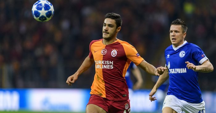 ISTANBUL, TURKEY - OCTOBER 24: Ozan Kabak of Galatasaray in action against Yeven Konoplyanka of Schalke during the Group D match of the UEFA Champions League between Galatasaray and FC Schalke 04 at Turk Telekom Arena on October 24, 2018 in Istanbul, Turkey. (Photo by Alexander Scheuber/Bongarts/Getty Images)