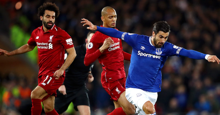 during the Premier League match between Liverpool FC and Everton FC at Anfield on December 2, 2018 in Liverpool, United Kingdom.