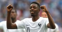 NIZHNY NOVGOROD, RUSSIA - JULY 06: Ousmane Dembele of France celebrates victory following the 2018 FIFA World Cup Russia Quarter Final match between Uruguay and France at Nizhny Novgorod Stadium on July 6, 2018 in Nizhny Novgorod, Russia. (Photo by Alexander Hassenstein/Getty Images)