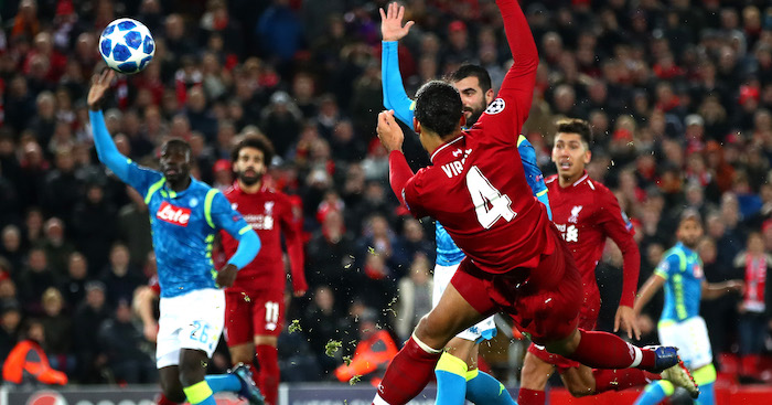 during the UEFA Champions League Group C match between Liverpool and SSC Napoli at Anfield on December 11, 2018 in Liverpool, United Kingdom.