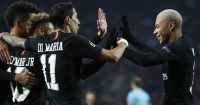 BELGRADE, SERBIA - DECEMBER 11: Neymar (L) of Paris Saint-Germain celebrates after scoring a goal with Angel Di Maria (C) and Kylian Mbappe (R) during the UEFA Champions League Group C match between Red Star Belgrade and Paris Saint-Germain at Rajko Mitic Stadium on December 11, 2018 in Belgrade, Serbia. (Photo by Srdjan Stevanovic/Getty Images)