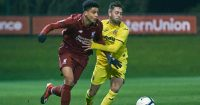 KIRKBY, ENGLAND - NOVEMBER 21: (THE SUN OUT, THE SUN ON SUNDAY OUT) Ki-jana Hoever of Liverpool and Adrian Riera of Villarreal in action during the Premier League International Cup game at The Kirkby Academy on November 21, 2018 in Kirkby, England. (Photo by Nick Taylor/Liverpool FC/Liverpool FC via Getty Images