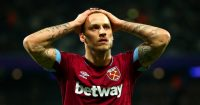 LONDON, ENGLAND - DECEMBER 04: Marko Arnautovic of West Ham United reacts after conceding a penalty during the Premier League match between West Ham United and Cardiff City at London Stadium on December 04, 2018 in London, United Kingdom. (Photo by Dan Istitene/Getty Images)