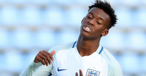 VOLUNTARI, ROMANIA - OCTOBER 30: Callum Hudson-Odoi of England reacts during the UEFA Under-17 EURO Qualifier between U17 Austria and U17 England on October 30, 2016 at Anghel Iordanescu stadium in Voluntari, Romania. (Photo by Ronny Hartmann/Getty Images)