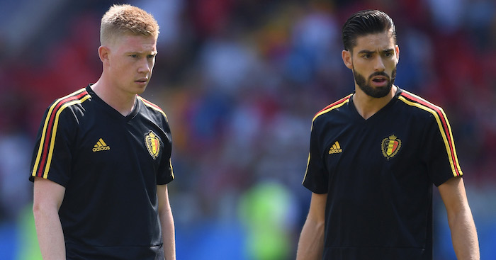 during the 2018 FIFA World Cup Russia group G match between Belgium and Tunisia at Spartak Stadium on June 23, 2018 in Moscow, Russia.