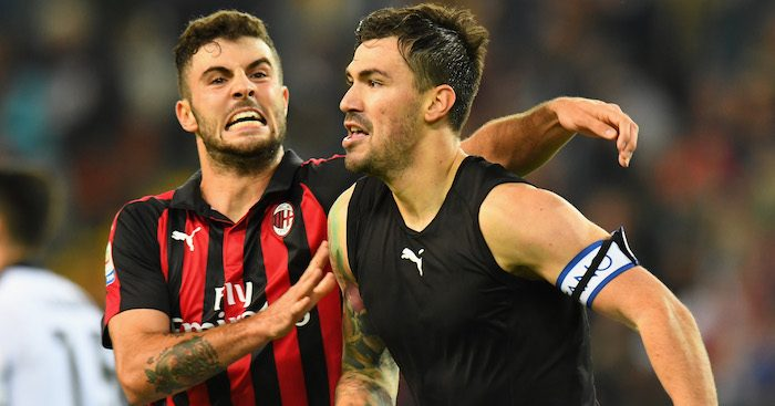 during the Serie A match between Udinese and AC Milan at Stadio Friuli on November 4, 2018 in Udine, Italy.