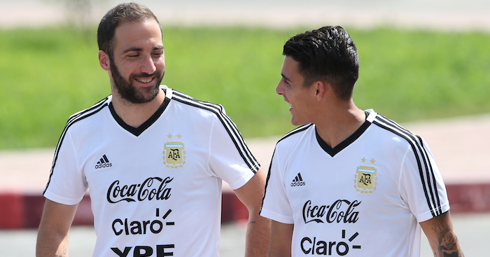 BRONNITSY, RUSSIA - JUNE 23: Gonzalo Higuain of Argentina talk with Cristian Pavon of Argentina during a training session at Stadium of Syroyezhkin sports school on June 24, 2018 in Bronnitsy, Russia. (Photo by Gabriel Rossi/Getty Images)