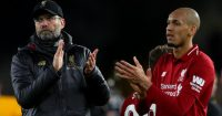 WOLVERHAMPTON, ENGLAND - JANUARY 07: Jurgen Klopp manager of Liverpool and Fabinho of Liverpool applaud after the Emirates FA Cup Third Round match between Wolverhampton Wanderers and Liverpool at Molineux on January 7, 2019 in Wolverhampton, United Kingdom. (Photo by Catherine Ivill/Getty Images)