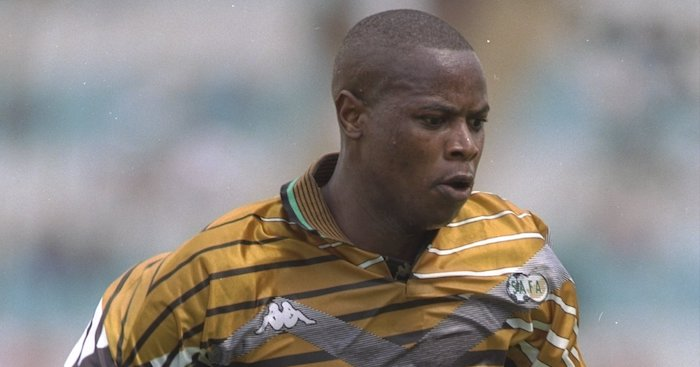 24 Jan 1996: Phil Masinga of South Africa in action during the African Nations Cup match against Egypt at the FNB Stadium in Johannesburg, South Africa. Mandatory Credit: Gary M Prior/Allsport