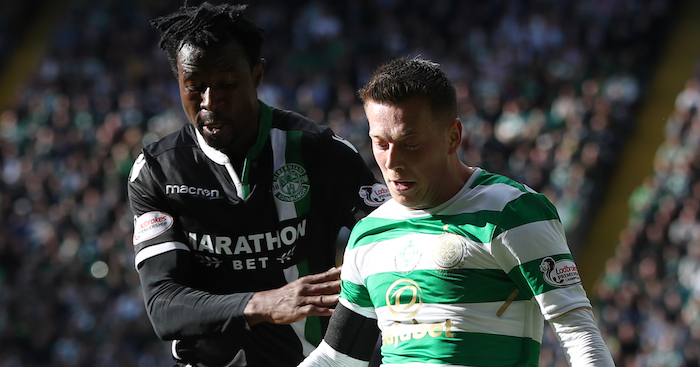 GLASGOW, SCOTLAND - SEPTEMBER 30: Callum McGregor of Celtic bids with Efe Ambrose of Hibernian during the Ladbrokes Scottish Premiership match between Celtic and Hibernian at Celtic Park Stadium on September 30, 2017 in Glasgow, Scotland. (Photo by Ian MacNicol/Getty Images)