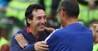 DUBLIN, IRELAND - AUGUST 01: Arsenal manager Unai Emery greets Chelsea manager Maurizio Sarri during the Pre-season friendly International Champions Cup game between Arsenal and Chelsea at Aviva stadium on August 1, 2018 in Dublin, Ireland. (Photo by Charles McQuillan/Getty Images)