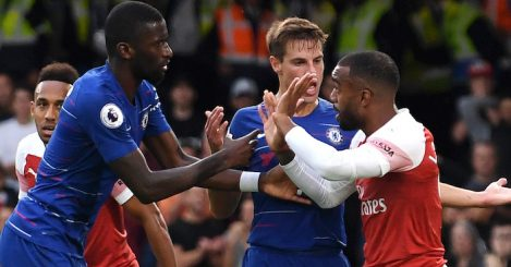 during the Premier League match between Chelsea FC and Arsenal FC at Stamford Bridge on August 18, 2018 in London, United Kingdom.