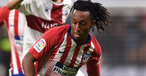 MADRID, SPAIN - SEPTEMBER 25: Gelson Martins of Club Atletico de Madrid turns from Alex Gallar of SD Huesca a during the La Liga match between Club Atletico de Madrid and SD Huesca at Wanda Metropolitano on September 25, 2018 in Madrid, Spain. (Photo by Denis Doyle/Getty Images)