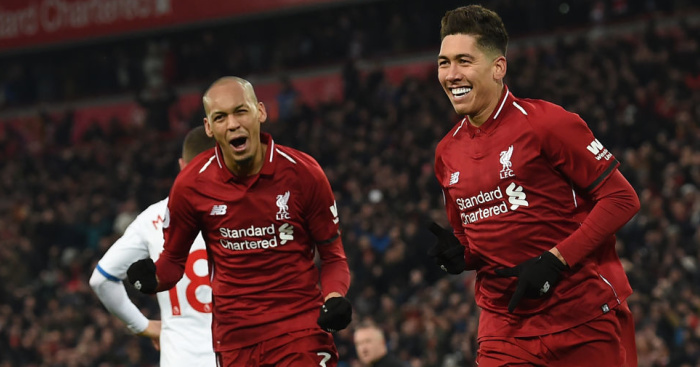 Roberto.Firmino 11 - Keeper error and Salah double helps Liverpool go seven clear