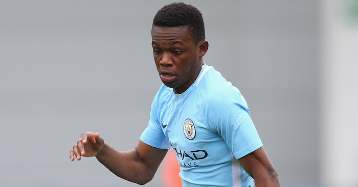 of Manchester City of Liverpool during the UEFA Youth League Quarter-Final match between Manchester City and Liverpool at Manchester City Football Academy on March 14, 2018 in Manchester, England.
