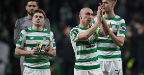 GLASGOW, SCOTLAND - DECEMBER 13: Scott Brown of Celtic applauds the fans during the UEFA Europa League Group B match between Celtic and RB Salzburg at Celtic Park on December 13, 2018 in Glasgow, United Kingdom. (Photo by Ian MacNicol/Getty Images)