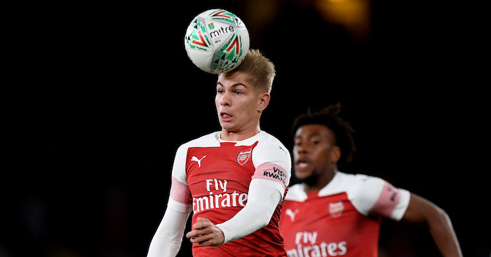 during the Carabao Cup Third Round match between Arsenal and Brentford at Emirates Stadium on September 26, 2018 in London, England.