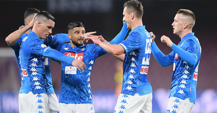 during the Serie A match between SSC Napoli and UC Sampdoria at Stadio San Paolo on February 2, 2019 in Naples, Italy.