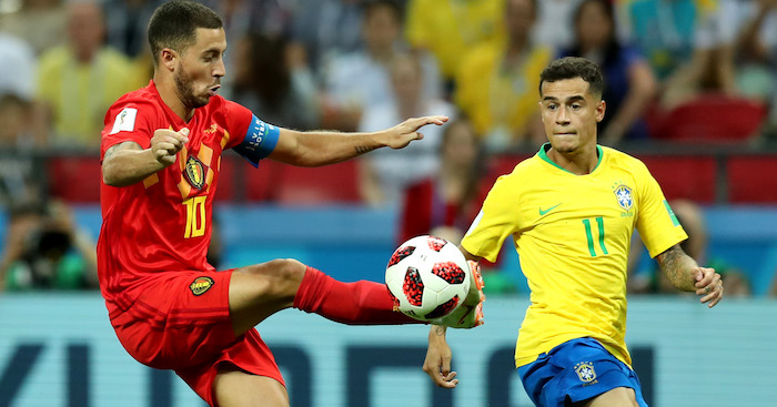 during the 2018 FIFA World Cup Russia Quarter Final match between Brazil and Belgium at Kazan Arena on July 6, 2018 in Kazan, Russia.