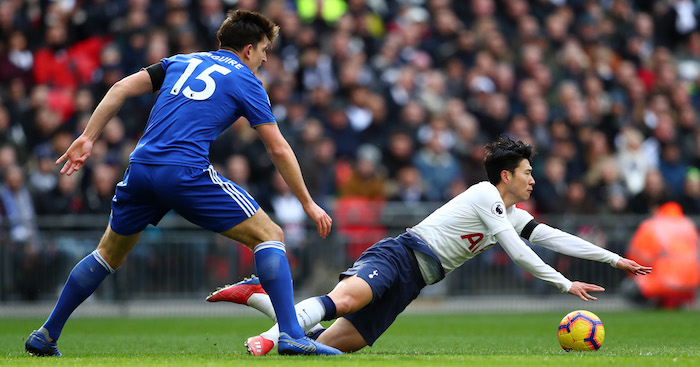 during the Premier League match between Tottenham Hotspur and Leicester City at Wembley Stadium on February 10, 2019 in London, United Kingdom.