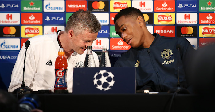 during a press conference ahead of their UEFA Champions League Round of 16 match against Paris Saint-Germain F.C. at Aon Training Complex on February 11, 2019 in Manchester, England.