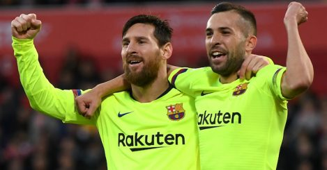 during the La Liga match between Girona FC and FC Barcelona at Montilivi Stadium on January 27, 2019 in Girona, Spain.