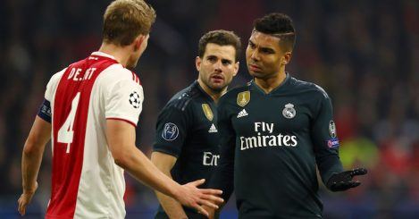 during the UEFA Champions League Round of 16 First Leg match between Ajax and Real Madrid at Johan Cruyff Arena on February 13, 2019 in Amsterdam, Netherlands.