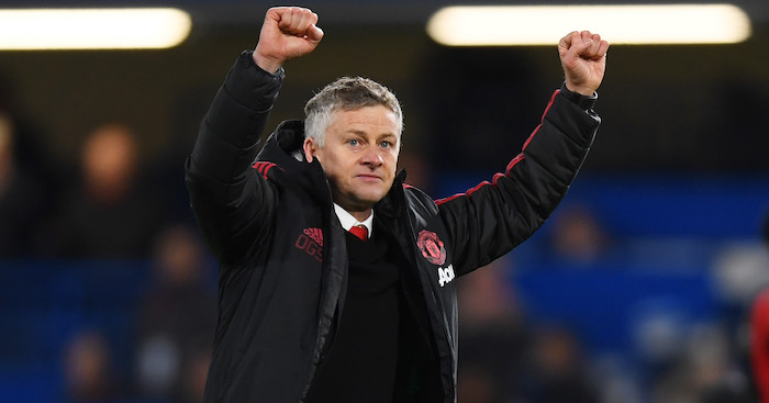 LONDON, ENGLAND - FEBRUARY 18: Ole Gunnar Solskjaer, Interim Manager of Manchester United celebrates victory after the FA Cup Fifth Round match between Chelsea and Manchester United at Stamford Bridge on February 18, 2019 in London, United Kingdom. (Photo by Mike Hewitt/Getty Images)