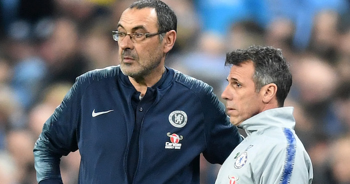 during the Carabao Cup Final between Chelsea and Manchester City at Wembley Stadium on February 24, 2019 in London, England.