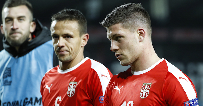 BELGRADE, SERBIA - NOVEMBER 17: Nemanja Maksimovic (L) and Luka Jovic (R) of Serbia look on after the UEFA Nations League C group four match between Serbia and Montenegro at stadium Rajko Mitic on November 17, 2018 in Belgrade, Serbia. (Photo by Srdjan Stevanovic/Getty Images)