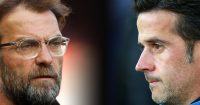 FILE PHOTO (EDITORS NOTE: COMPOSITE OF IMAGES - Image numbers 946221366,1025073120 - GRADIENT ADDED) In this composite image a comparison has been made between Jurgen Klopp, Manager of Liverpool (L) and Marco Silva, Manager of Everton. Liverpool FC and Everton FC meet in the Merseyside derby at Anfield on December 2, 2018 in Liverpool. ***LEFT IMAGE*** LIVERPOOL, ENGLAND - APRIL 14: Jurgen Klopp, Manager of Liverpool looks on during the warm up prior to the Premier League match between Liverpool and AFC Bournemouth at Anfield on April 14, 2018 in Liverpool, England. (Photo by Clive Brunskill/Getty Images) ***RIGHT IMAGE*** LIVERPOOL, ENGLAND - AUGUST 29: Marco Silva, Manager of Everton looks on prior to the Carabao Cup Second Round match between Everton and Rotherham United at Goodison Park on August 29, 2018 in Liverpool, England. (Photo by Alex Livesey/Getty Images)
