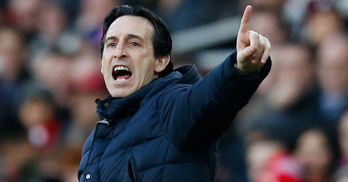 Arsenal's Spanish head coach Unai Emery gestures from the touchline during the English Premier League football match between Arsenal and Manchester United at the Emirates Stadium in London on March 10, 2019. (Photo by Ian KINGTON / IKIMAGES / AFP) / RESTRICTED TO EDITORIAL USE. No use with unauthorized audio, video, data, fixture lists, club/league logos or 'live' services. Online in-match use limited to 45 images, no video emulation. No use in betting, games or single club/league/player publications. (Photo credit should read IAN KINGTON/AFP/Getty Images)