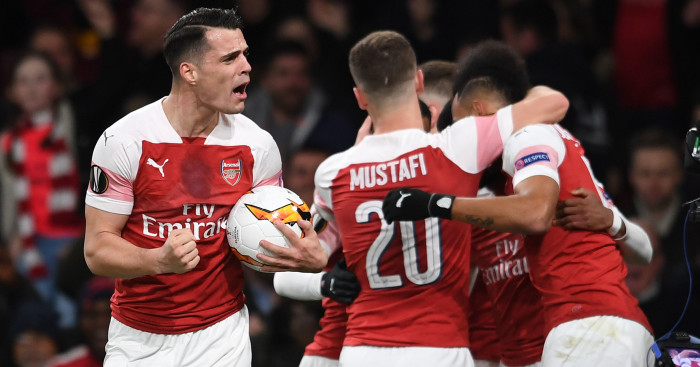 Granit Xhaka Arsenal celebration - Aubameyang scores twice as Arsenal reach EL quarter-finals with win over Rennes