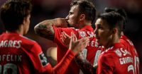 Benfica's Swiss forward Haris Seferovic (C) celebrates after scoring during the Portuguese league football match between SL Benfica and CD Tondela at the Luz stadium in Lisbon on March 30, 2019. (Photo by PATRICIA DE MELO MOREIRA / AFP) (Photo credit should read PATRICIA DE MELO MOREIRA/AFP/Getty Images)