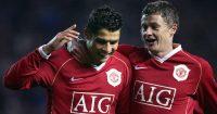 Manchester United's Portuguese striker Cristiano Ronaldo celebrates with Ole Gunnar Solskjaer