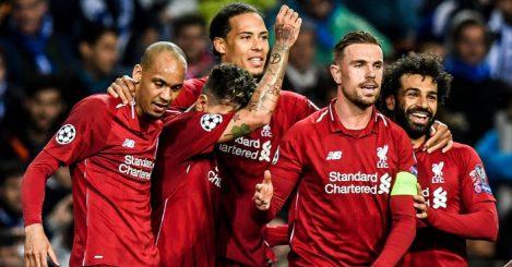 Fabinho Firmino Van Dijk Henderson Salah Liverpool celebration v Porto TEAMtalk