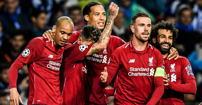 Fabinho Firmino Van Dijk Henderson Salah Liverpool celebration v Porto - Fabinho reveals the game that ignited his Liverpool career