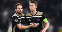 LONDON, ENGLAND - APRIL 30: Daley Blind and Matthijs de Ligt of Ajax celebrate after the UEFA Champions League Semi Final first leg match between Tottenham Hotspur and Ajax at at the Tottenham Hotspur Stadium on April 30, 2019 in London, England. (Photo by Shaun Botterill/Getty Images)
