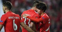 LISBON, PORTUGAL - APRIL 11: Joao Felix of Benfica celebrates with teammate Jardel of Benfica and Ruben Dias of Benfica after scoring his team's fourth goal during the UEFA Europa League Quarter Final First Leg match between Benfica and Eintracht Frankfurt at Estadio do Sport Lisboa e Benfica on April 11, 2019 in Lisbon, Portugal. (Photo by Octavio Passos/Getty Images)