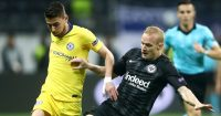 FRANKFURT AM MAIN, GERMANY - MAY 02: Jorginho of Chelsea is tackled by Sebastian Rode of Eintracht Frankfurt during the UEFA Europa League Semi Final First Leg match between Eintracht Frankfurt and Chelsea at Commerzbank-Arena on May 02, 2019 in Frankfurt am Main, Germany. (Photo by Alex Grimm/Bongarts/Getty Images,)