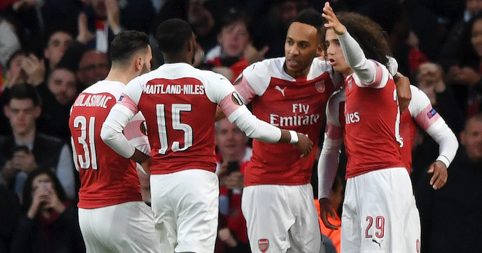 LONDON, ENGLAND - MAY 02: Alexandre Lacazette of Arsenal (obscured) celebrates with his teammates after scoring his team's first goal during the UEFA Europa League Semi Final First Leg match between Arsenal and Valencia at Emirates Stadium on May 02, 2019 in London, England. (Photo by Shaun Botterill/Getty Images)
