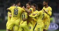 FRANKFURT AM MAIN, GERMANY - MAY 02: Pedro of Chelsea (11) celebrates after scoring his team's first goal with team mates during the UEFA Europa League Semi Final First Leg match between Eintracht Frankfurt and Chelsea at Commerzbank-Arena on May 02, 2019 in Frankfurt am Main, Germany. (Photo by Alex Grimm/Bongarts/Getty Images,)