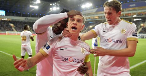 Genk's Leandro Trossard celebrates after scoring during a soccer match between KAA Gent and KRC Genk, Saturday 27 April 2019 in Gent, on day 6 (out of 10) of the Play-off 1 of the 'Jupiler Pro League' Belgian soccer championship. BELGA PHOTO YORICK JANSENS (Photo credit should read YORICK JANSENS/AFP/Getty Images)