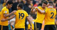 WOLVERHAMPTON, ENGLAND - MAY 04: Leander Dendoncker of Wolverhampton Wanderers celebrates with teammates after scoring his team's first goal during the Premier League match between Wolverhampton Wanderers and Fulham FC at Molineux on May 04, 2019 in Wolverhampton, United Kingdom. (Photo by Alex Livesey/Getty Images)