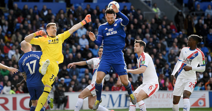 CARDIFF, WALES - MAY 04: Vicente Guaita of Crystal Palace saves a shot from Sean Morrison of Cardiff City during the Premier League match between Cardiff City and Crystal Palace at Cardiff City Stadium on May 04, 2019 in Cardiff, United Kingdom. (Photo by Stu Forster/Getty Images)